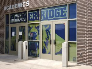 The entrance of Palmer Ridge High School.