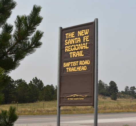 Photo of the New Santa Fe Regional Trail sign at the Baptist Road Trailhead.