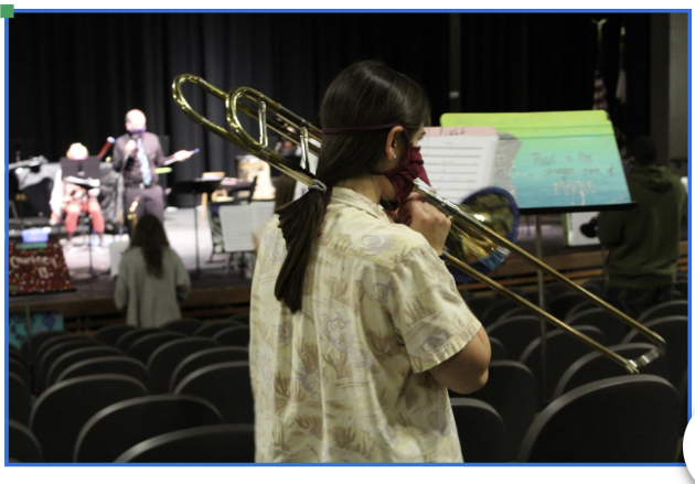 Photo of Gabby Ward (12), a trombone player, during Wind Ensemble practice.