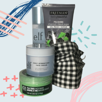 Some of my go-to skincare products with my favorite mask.