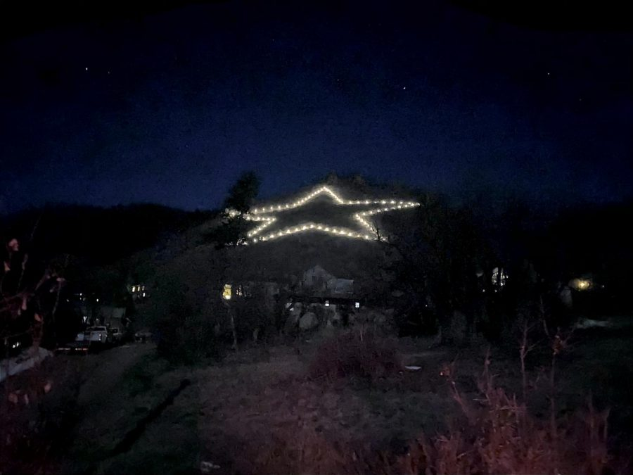 Palmer Lake's Star, which lit up at exactly 7:00 Saturday night.