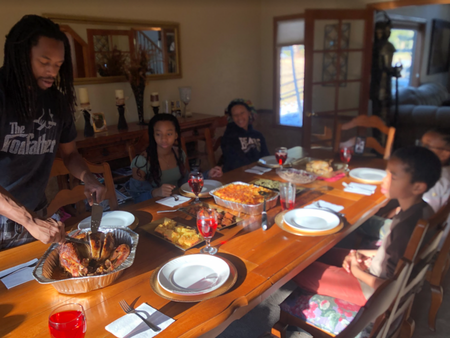 Typically, Maddy spends Thanksgiving in Wisconsin with her dad but this year she spent it here with her siblings. Her mom was out of town taking care of her grandparents, so they were on video chat during dinner.