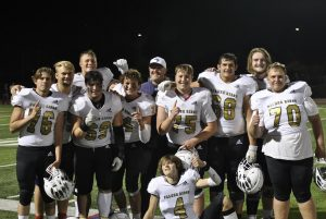 The O-line after their comeback win against Ponderosa, winning 35-28 with all points scored in the second half. All photos by Ashley Falk unless stated otherwise